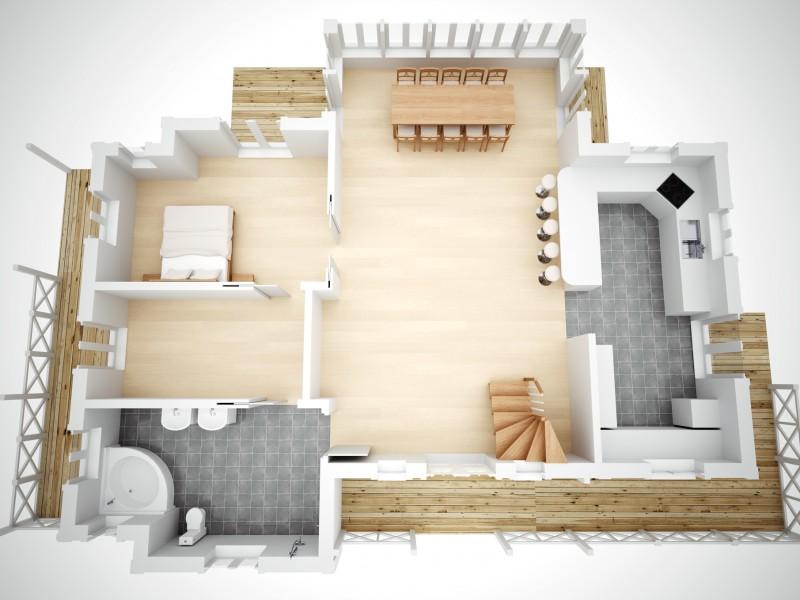 Wizualizacja rzutu domu DD Hus